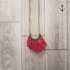 Long Tassel Necklace - Red